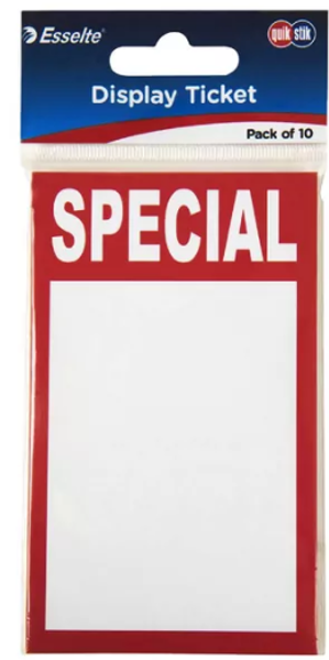 Picture of Quikstik display Tickets SPECIAL 10 pk