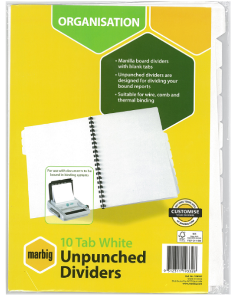 Picture of A4 Marbig Unpunched 10Tab Dividers